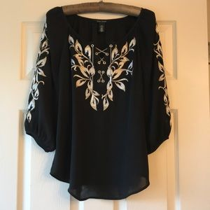 WHBM black and gold blouse